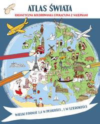 Atlas świata. Megakolorowanka edukacyjna z naklej.